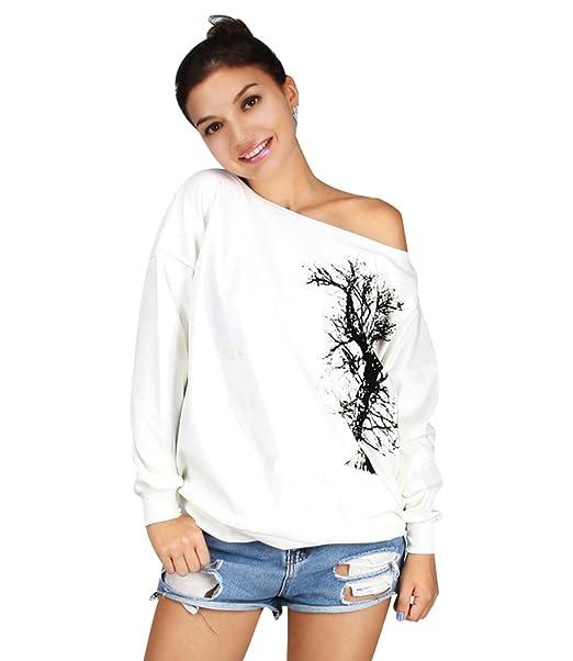 Sudaderas Mujer Sudadera Sin Hombros Estampadas Camisetas Manga Larga Sudaderas Oversize Chica Jerseys Pullover Cuello Redondo Top Juveniles Bonitas Camisas ...