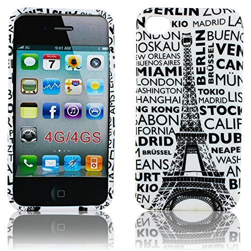 Apple iPhone 4 4S Coque City Paris Housse de protection design en silicone case housse etui Bumper thematys®