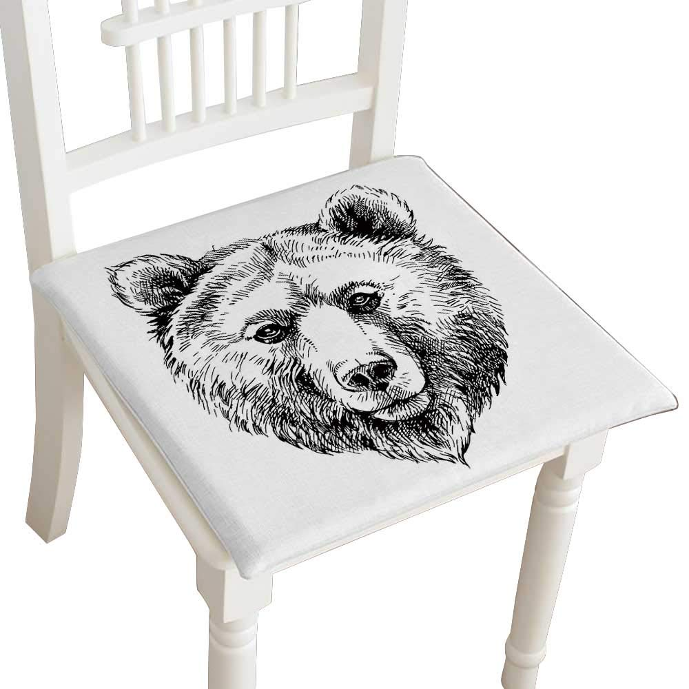 HuaWuhome Cushion Hand Drawn Brown Bear Animal Home Kitchen Office Chair Pads Seat Pads 26''x26''x2pcs