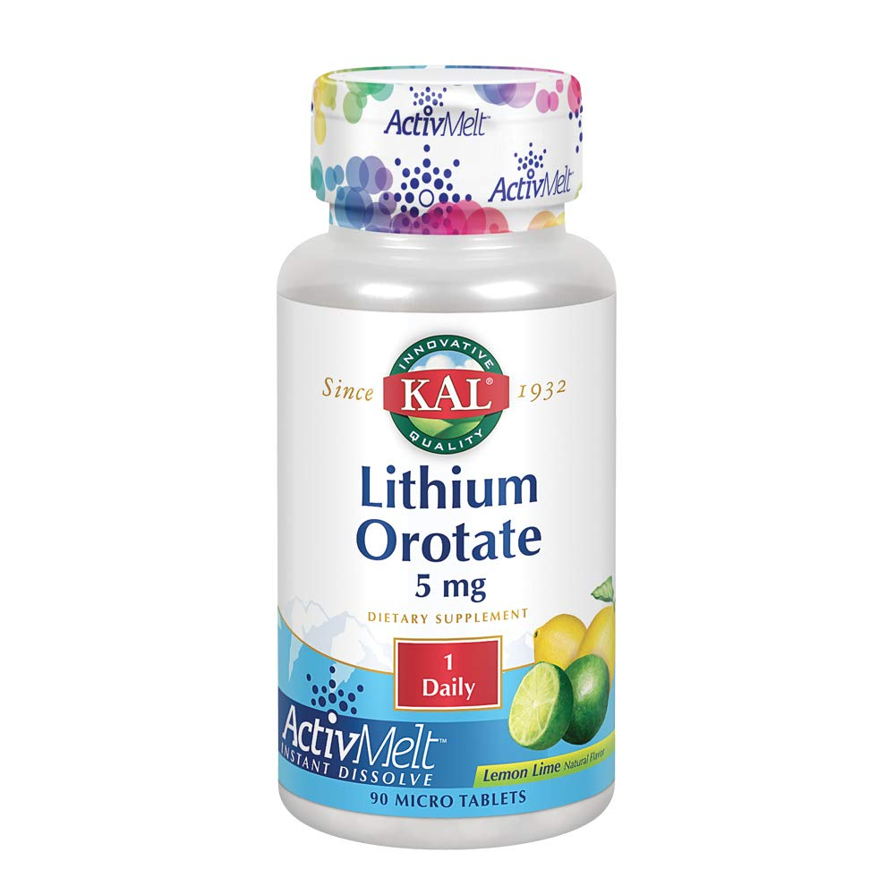 KAL Lithium Orotate ActivMelt 5mg   Low Serving Of Chelated Lithium Orotate For Bioavailability & Balanced Mood Support   Lemon Lime   90 Lozenges