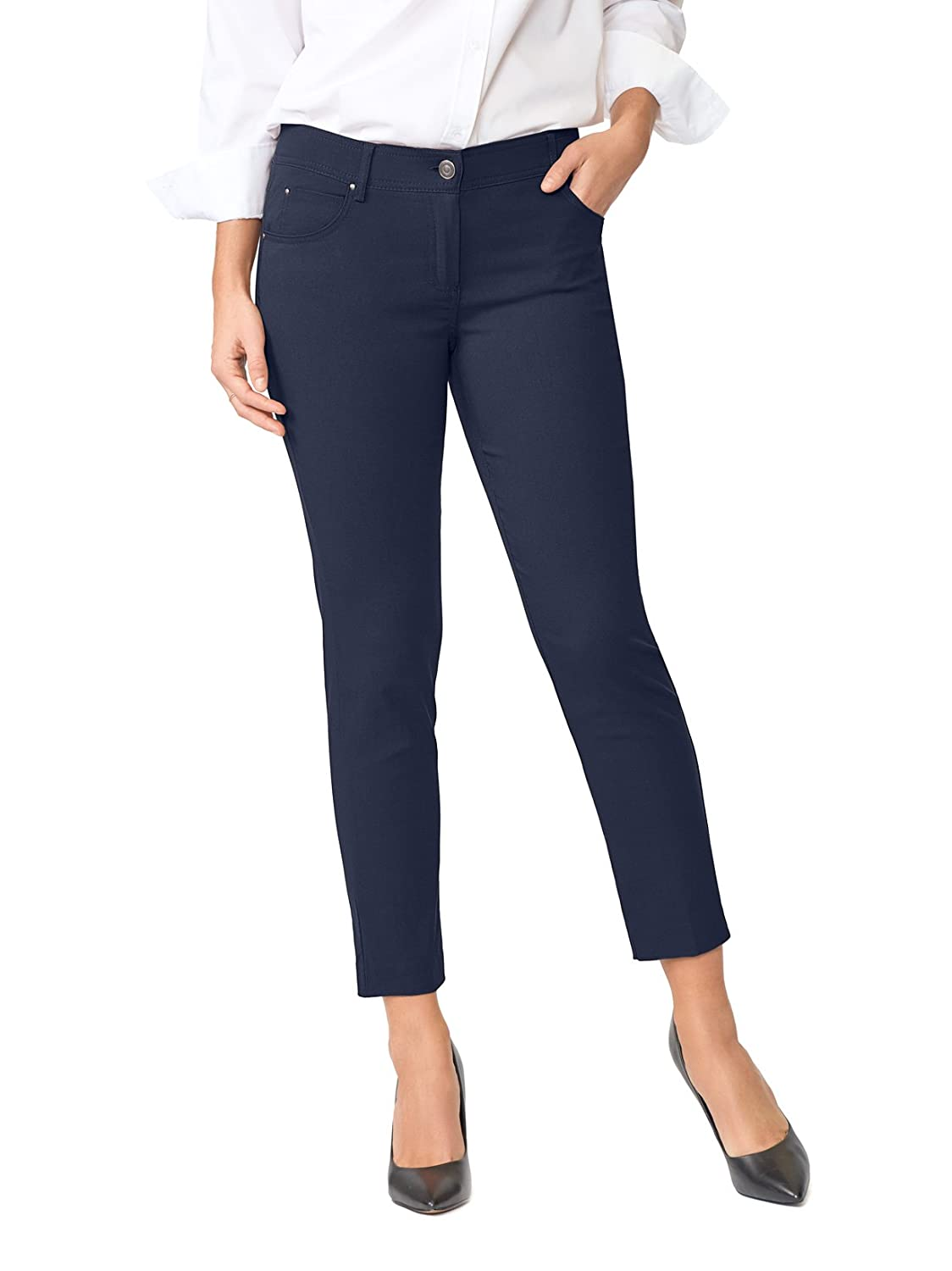 84076a56 COMFY & CHIC: Lightweight stretch ankle pants perfect for work. ULTRA  FLATTERING: Skinny straight leg ankle pants with zip fly closure and belt  loops at ...