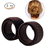 Hair Bun Shapers, 2 Pcs Modern Hair Styling Maker, Beauty Crown and Donut Hair Style Tools by Fasion Mall (Brown)