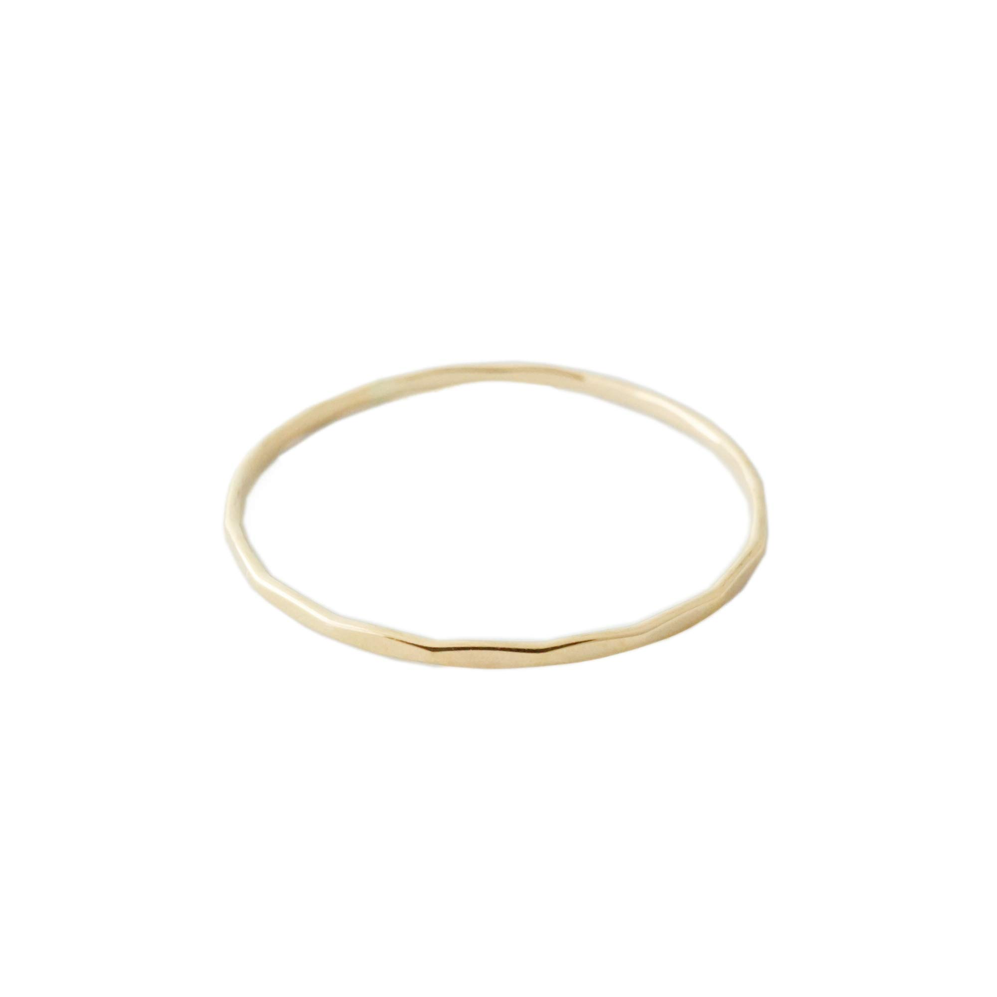 HONEYCAT Super Skinny Hammered Stacking Ring in Solid 14K Gold or 14k Rose Gold (Size 5-9) (Gold, 5) by HONEYCAT