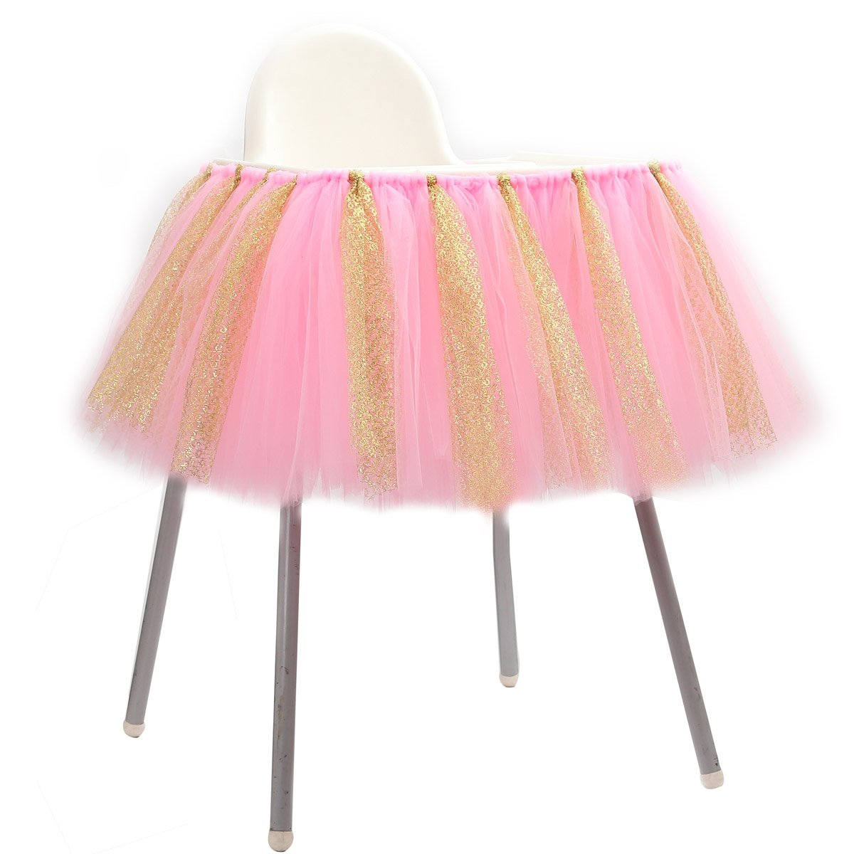 SL crafts Pink Gold Glitter Tulle High Chair Tutu Skirt Decoration Baby Shower Birthday Party Supplies 36x13.8 Inch (Pink Gold)