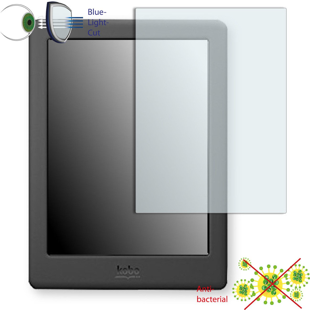 1 x DISAGU ClearScreen screen protection film for Kobo Glo HD antibacterial, BlueLight filter protective film #dh6116