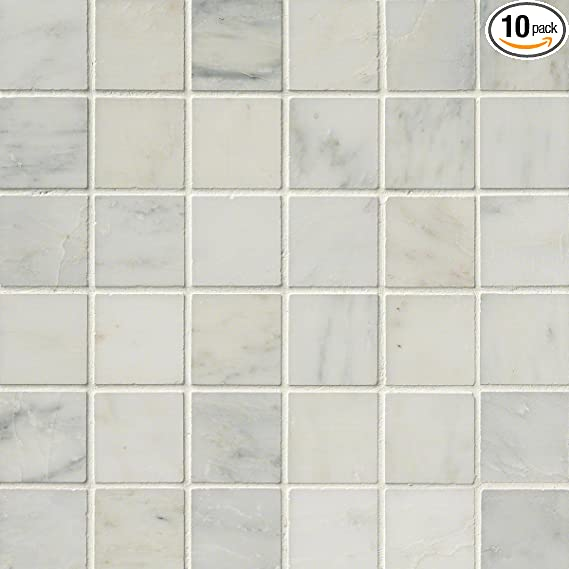 M S International Arabescato Carrara 2 In X 2 In Honed Marble Mesh Mounted Mosaic Tile 10 Sq Ft 10 Pieces Per Case Marble Tiles Amazon Com