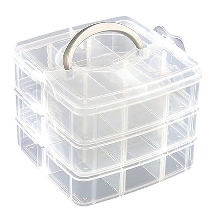 Caja Organizador con 3 Capas Almacenamiento Transparente Plástico Maquillaje