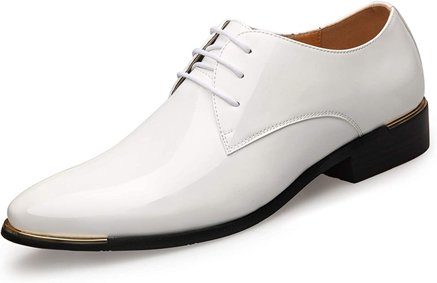 WC-hot Mens Patent Leather Shoes White Wedding Shoes Black Leather Soft Man Dress Shoes,Blue,12