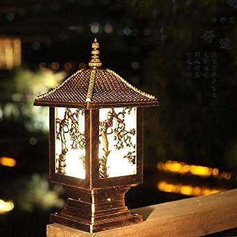 Farola de jardín tradicional lámpara de calle de aluminio fundido ...