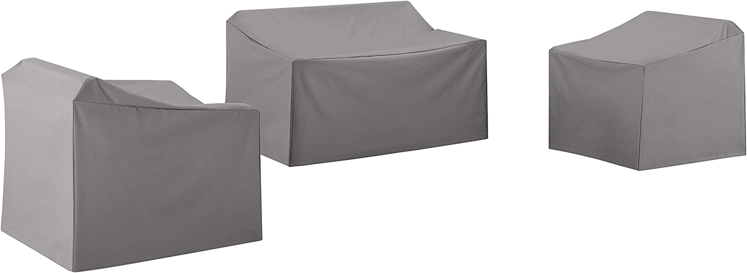 Crosley Furniture MO75004-GY Heavy-Gauge Reinforced Vinyl 3-Piece Furniture Cover Set (Loveseat, 2 Chairs), Gray