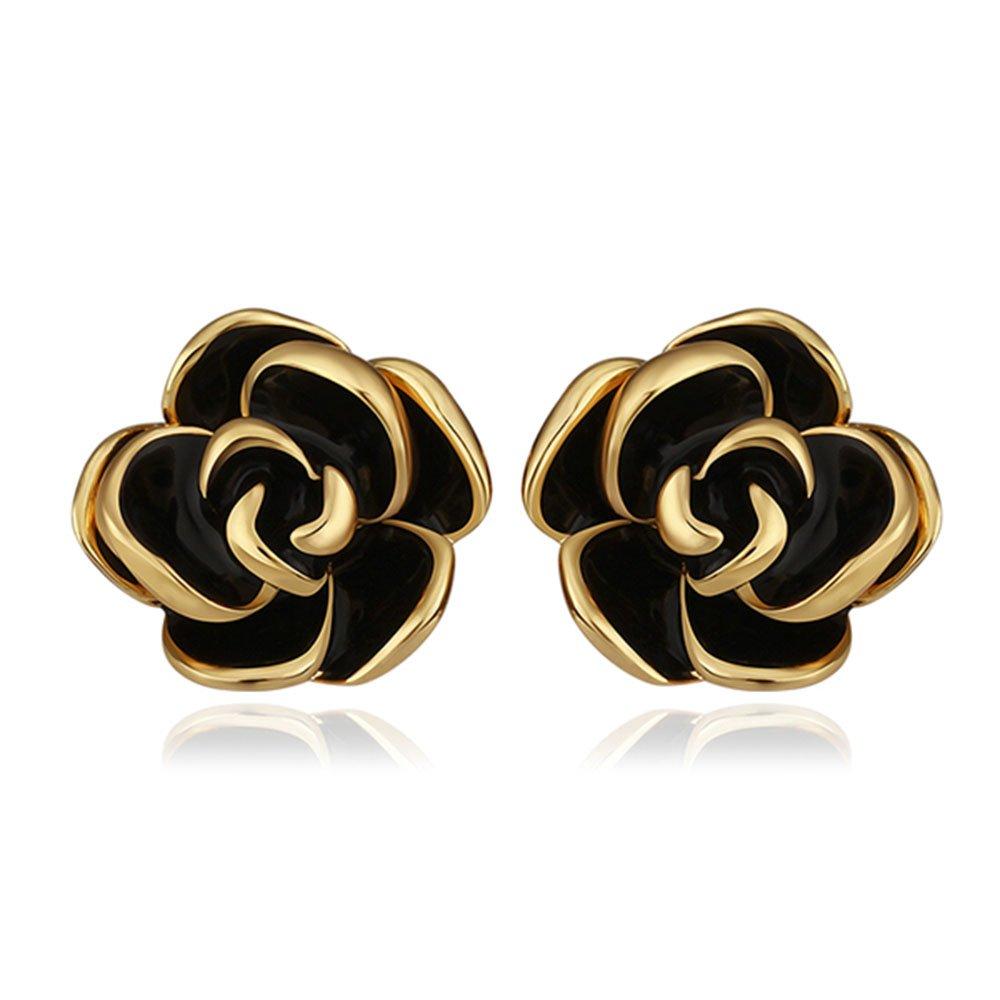 Ekavtor Camellia Flower Stud Earrings Romantic Rose Gold Plated Edge Jewelry(Black)