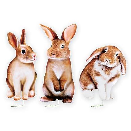 amazon com collections etc set of 3 realistic bunny metal yard art
