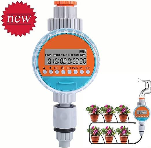 ZOTO Temporizador de Riego Automático, Programador de Riego Jardín con Pantalla LCD, Impermeable Reloj de Riego con Función de Memoria de Programa Programa de Riego Digital (hasta 30 Días): Amazon.es: Jardín
