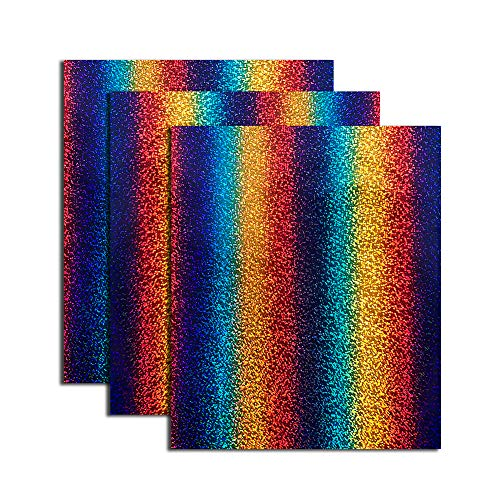 Holographic Foil Heat Transfer Vinyl Rainbow Stripe Multi Heat Press Patterned Vinyl HTV Bundle for Clothes Like, 12x10 inch,Round Multi Colors, Pack of ()