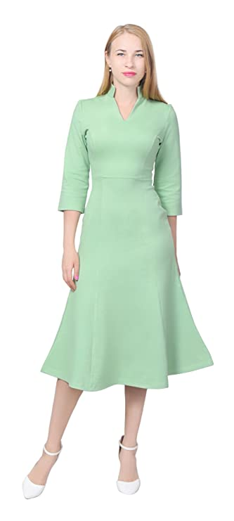 Plus Size Vintage Dresses, Plus Size Retro Dresses Marycrafts Womens Elegant High Collar V Neck A Line Midi Dresses $19.99 AT vintagedancer.com