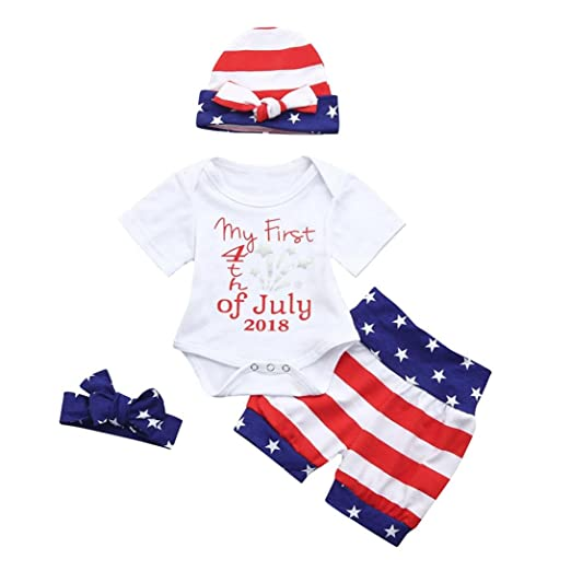 4094bac20 Amazon.com: Kehen 4pc Newborn Baby Girl Boys My First 4th of July 2018 Star  Romper+US Flag Shorts+Headband+Hat Independence Day Set: Clothing