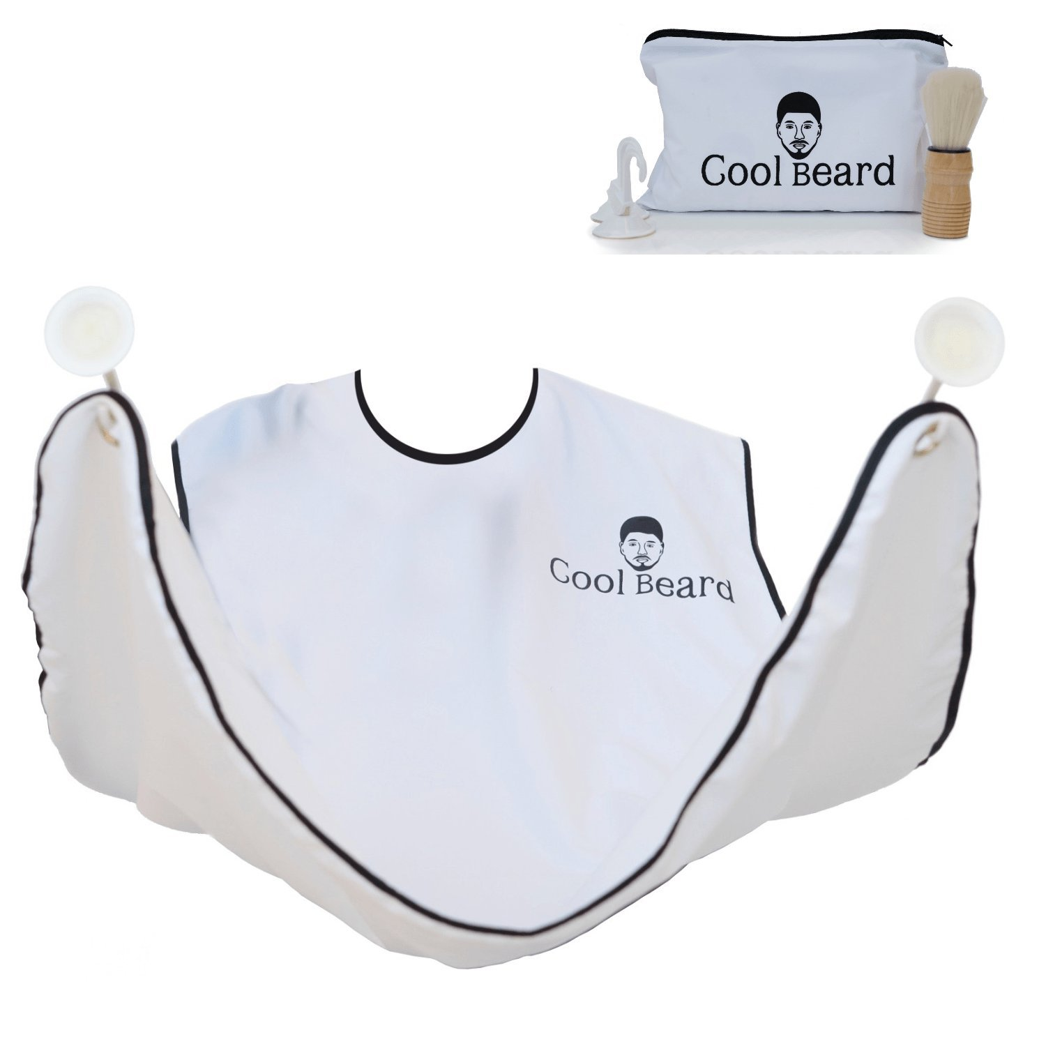 Beard Bib Apron Set- Shaving Cape Kit With Brush ,Travel Pouch and Suction Cups Catching All Trimming Hair For Men