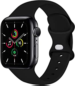 LGEBHS Sport Silicone Bands Compatible with Apple Watch Band 38mm 42mm 40mm 44mm, Silicone Sport Strap Replacement Bands Compatible for Iwatch Series 6/5/4/3/2/1. Black 42mm/44mm S/M