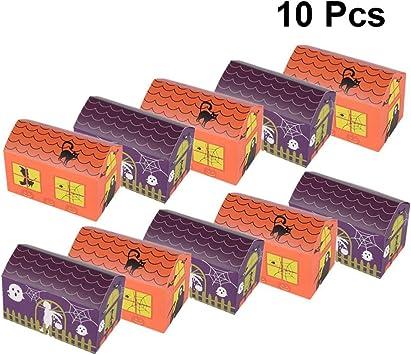 STOBOK 10 Piezas Caja de Regalo de Favor de la casa encantada de Halloween Cajas de golosinas de Halloween turrón Caja de Galletas Cubo para favores de Fiesta de Halloween: Amazon.es: Juguetes