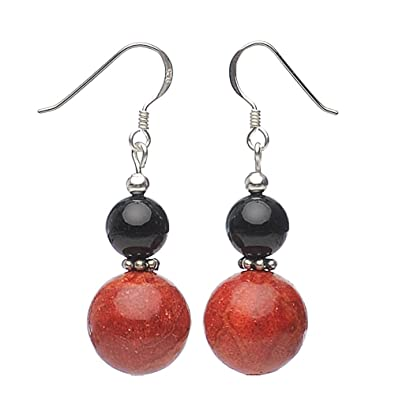 Earrings eardrops made of real lava with pores & pearls black white ladies 8ULbYUE