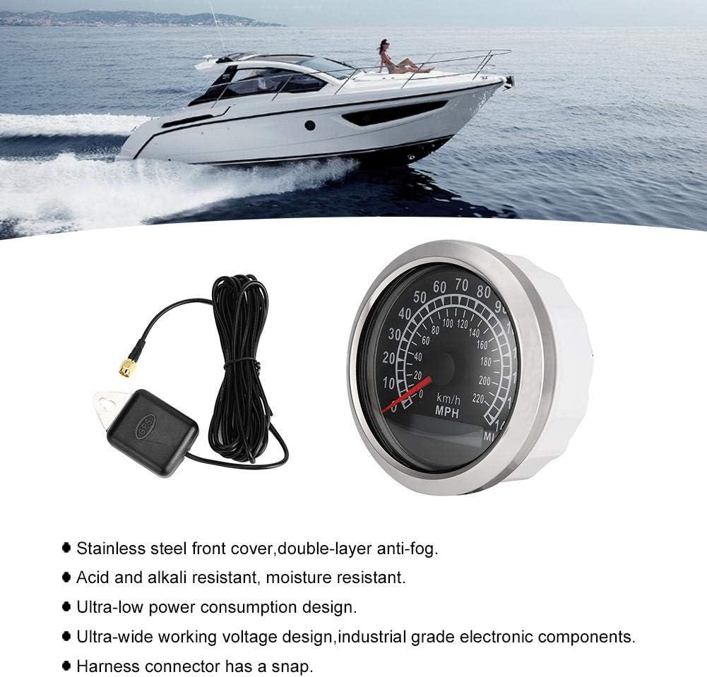 black Qii lu GPS Gauge GPS Speed Gauge Fuel Indicators Speedometer Display for Auto Boat 140MPH Waterproof