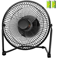 COMLIFE USB Desk Fan, 4400mAh Rechargeable Battery Operated Portable Personal Fan with 9 Inch Metal Frame, Two Speeds, Quiet Operation for Home, Office, etc.