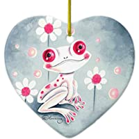 Frog Girly Pink Cute Ceramic Ornament Heart