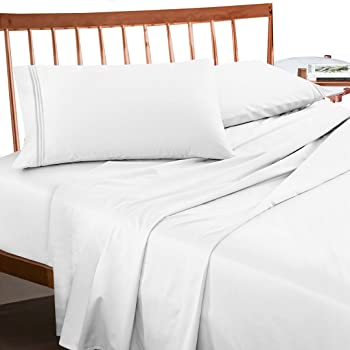 Premium California King Size Sheets Set   White Hotel Luxury 4 Piece Bed  Set, Extra Deep Pocket Special Super Fit Fitted Sheet, Best Quality  Microfiber ...