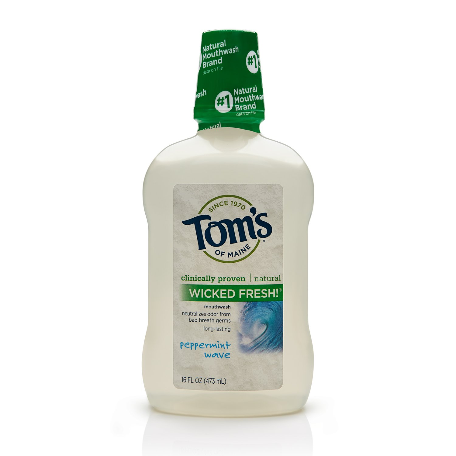 Tom's of Maine 683716 Long Lasting Wicked Fresh Mouth Wash, Peppermint Wave, 16 Ounce, 24 Count