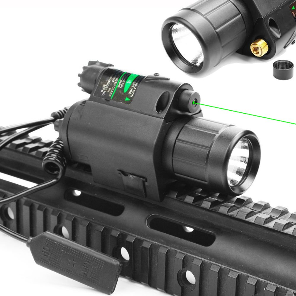 Hygoo 2 in 1 Tactical Green Laser Sight + Super Bright LED Flashlight Combo with Pressure Switch for 20mm Picatinny Rail