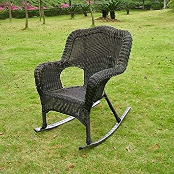 International Caravan 3182-1CH-AB-IC Furniture Piece Camelback Resin Wicker Rocker