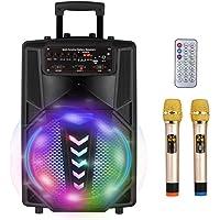 S SMAUTOP Máquina de Karaoke Portátil Recargable con Bluetooth, 2 Micrófonos Inalámbricos, Control Remoto Inalámbrico…