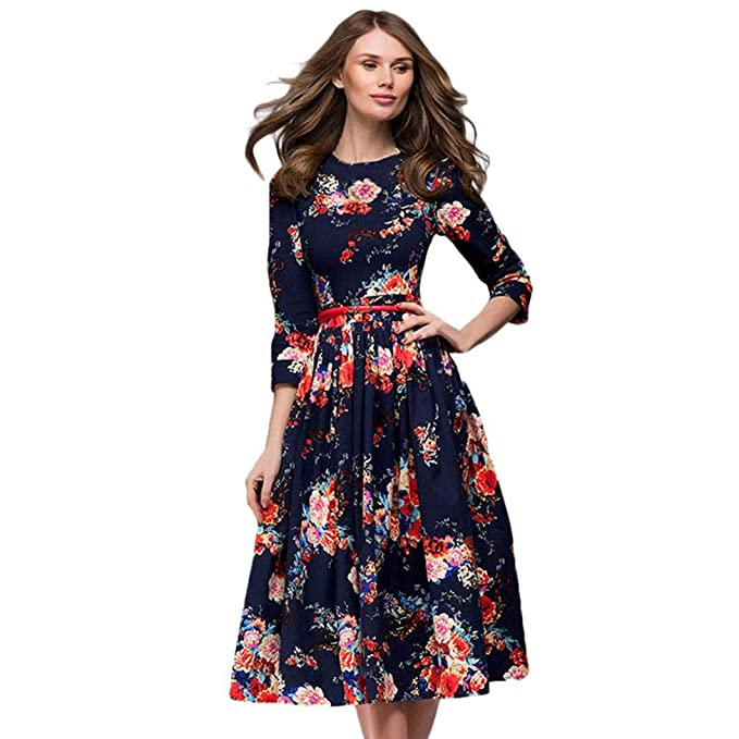 b6b2cfba6b78 Luckhome Ladies Autumn Vintage Print Long Sleeve Fluffy Dress Women, Women  Ladies Half Sleeve Floral Printing Long Sleevel Retro Dress: Amazon.co.uk:  ...