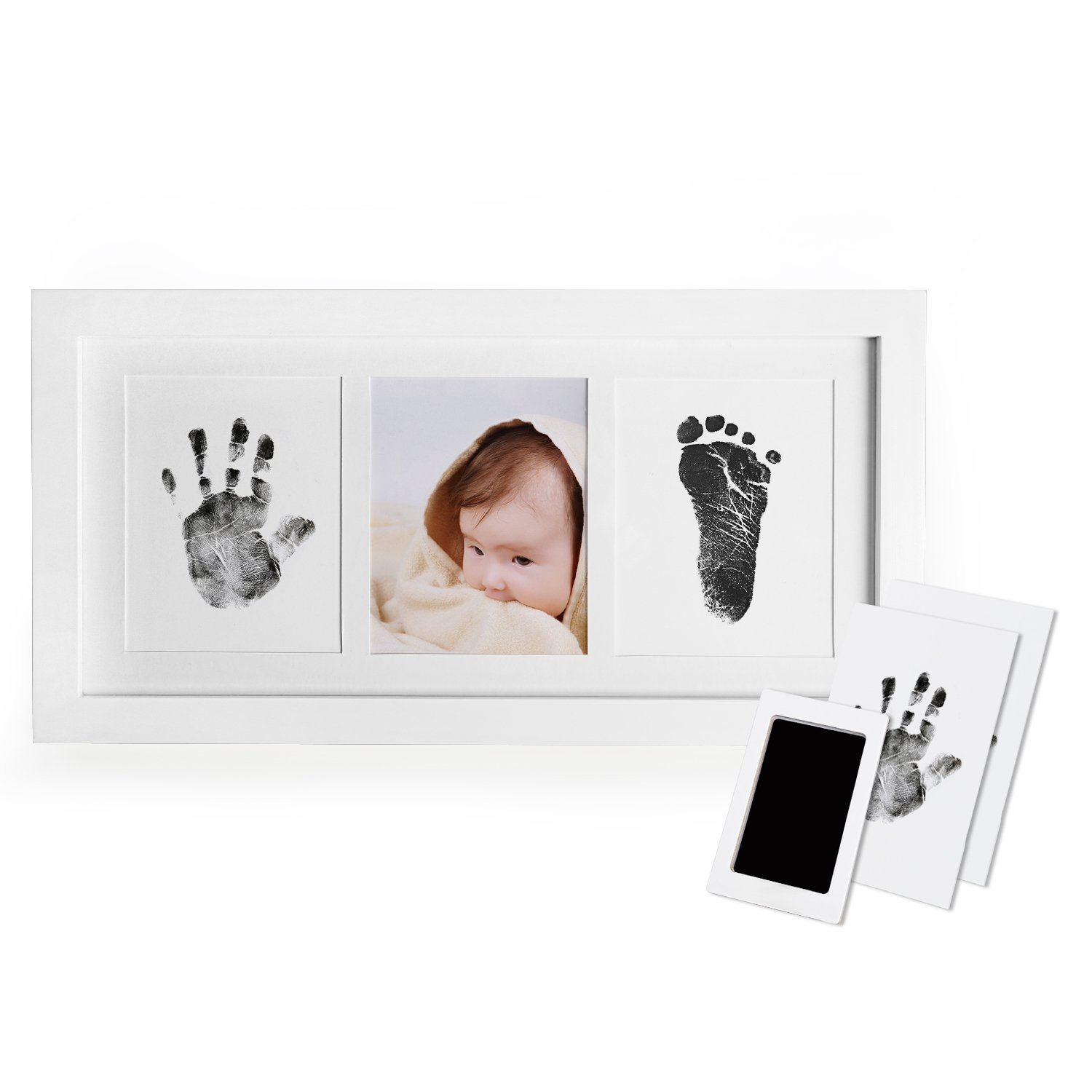 Norjews Baby Handprint and Footprint Photo Frame Kit for Newborn Boys and Girls, Prints Paper and Clean Touch Ink Pad to Create Baby Hand and Foot Prints, Amazing Baby Shower Gifts