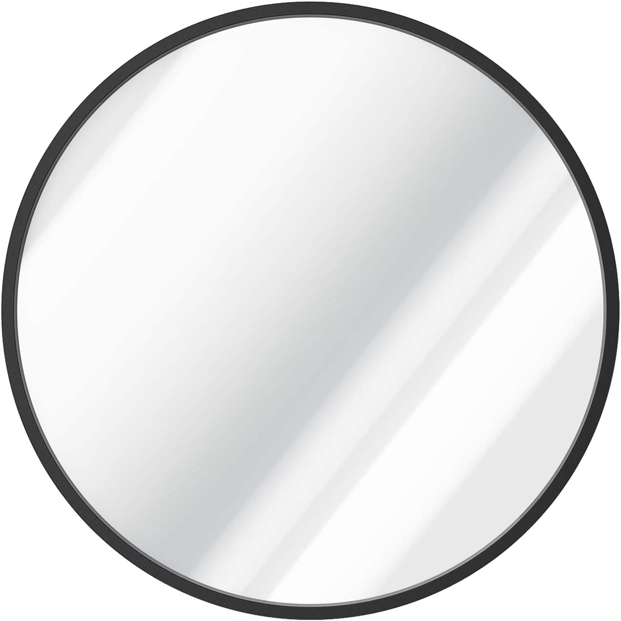 USHOWER 30-Inch Black Round Wall Mirror, Large Metal Frame Decor Mirror for Bathroom, Entryway, Vanity, and More, Farmhouse & Modern Style