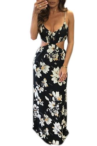 Mojessy Women's Halter Neck Backless Sleeveless Dress Vintage Floral Print Maxi Dresses