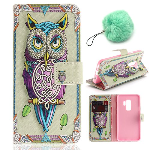 Price comparison product image For Galaxy S9 Plus Owl Colorful Printing Pattern Leather Case Wallet Cover with Card Slot and Kickstand Feature, Vandot 2 in 1 Ultra Slim Flip Magnetic Closure Case Pouch + Furry Pompon Pendant