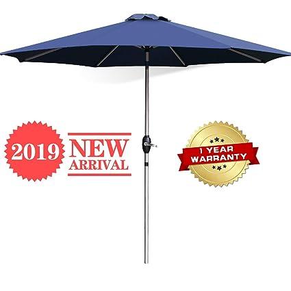 c2ea687b5e1d9 FRUITEAM 9FT Patio Umbrella Aluminium Pole 8 Ribs Outdoor Umbrella SPF50+  Waterproof forOutdoor, Beach Commercial