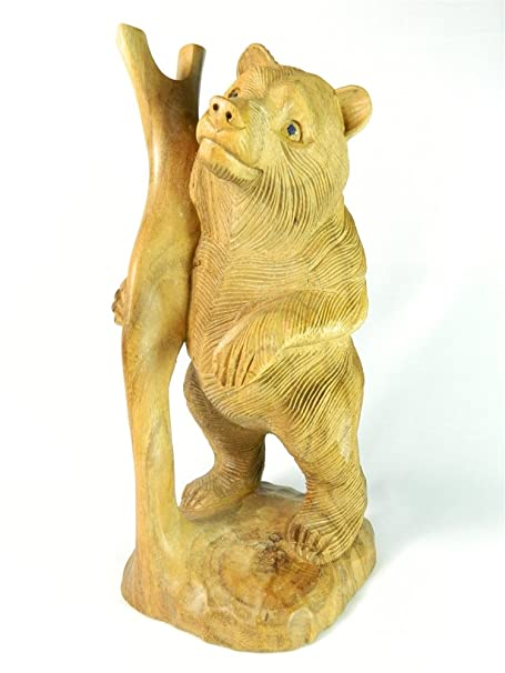 Thai Gifts Wooden Bear Carving Standing Grizzly Bear With Tree