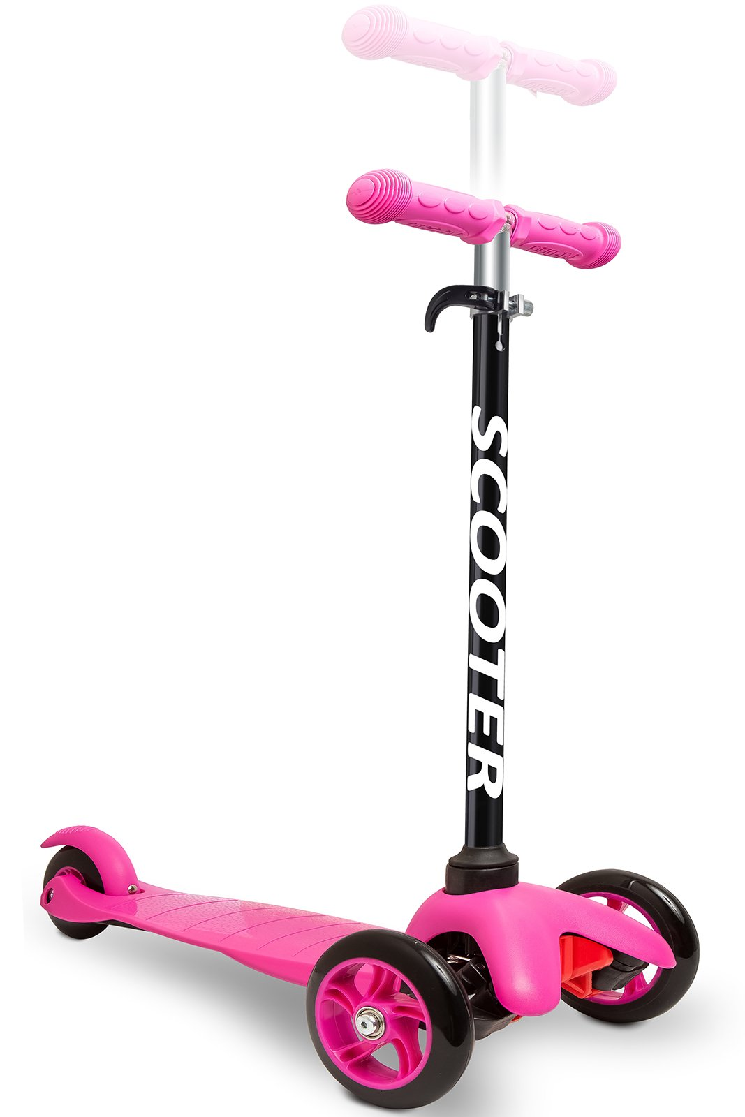 Den Haven Scooter for Kids - Deluxe Aluminum 3 Wheel Glider with Kick n Go, Lean 2 Turn, Step 4 Brake-Pink (Pink) by Den Haven (Image #2)