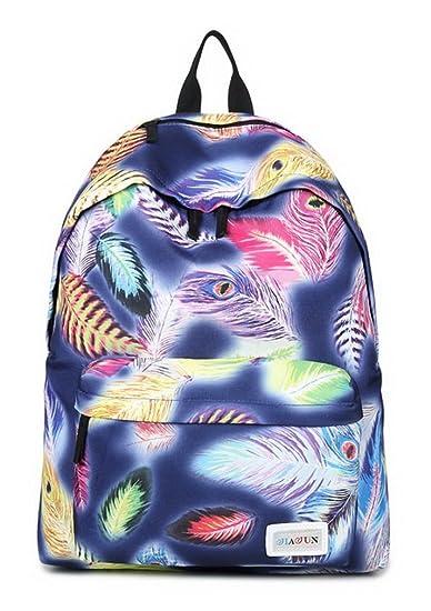 cbb58d977347 HAPPYTIMEBELT Double Zipper Bird Feather Printing School Backpack Student  Book Bag(Blue)