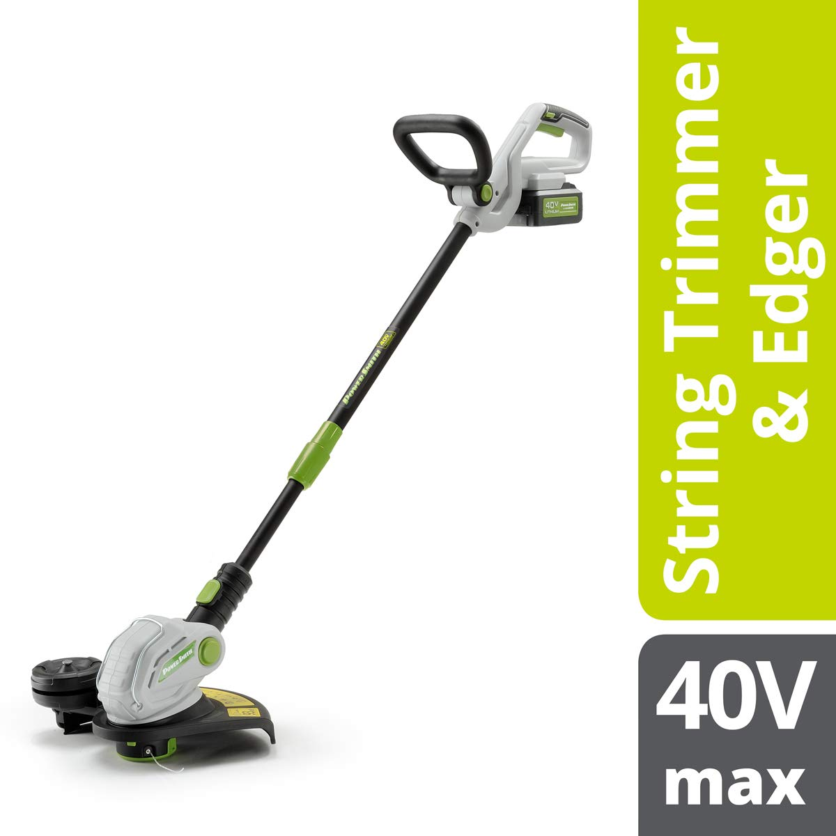 POWERSMITH PGT140 40V Max Rechargeable Cordless String Trimmer & Edger - Powerful, Eco-Friendly Lithium-Ion Battery-Powered, Battery & Charger Included