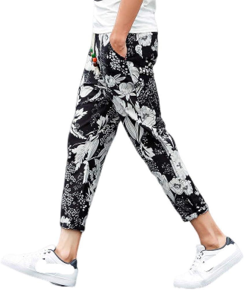 Pantalones de Moda para Hombres Ropa de Lino con Estampado Floral Pantalones recortados Pantalones de cordón de Gran tamaño para Correr Gimnasio Entrenamiento Fitness