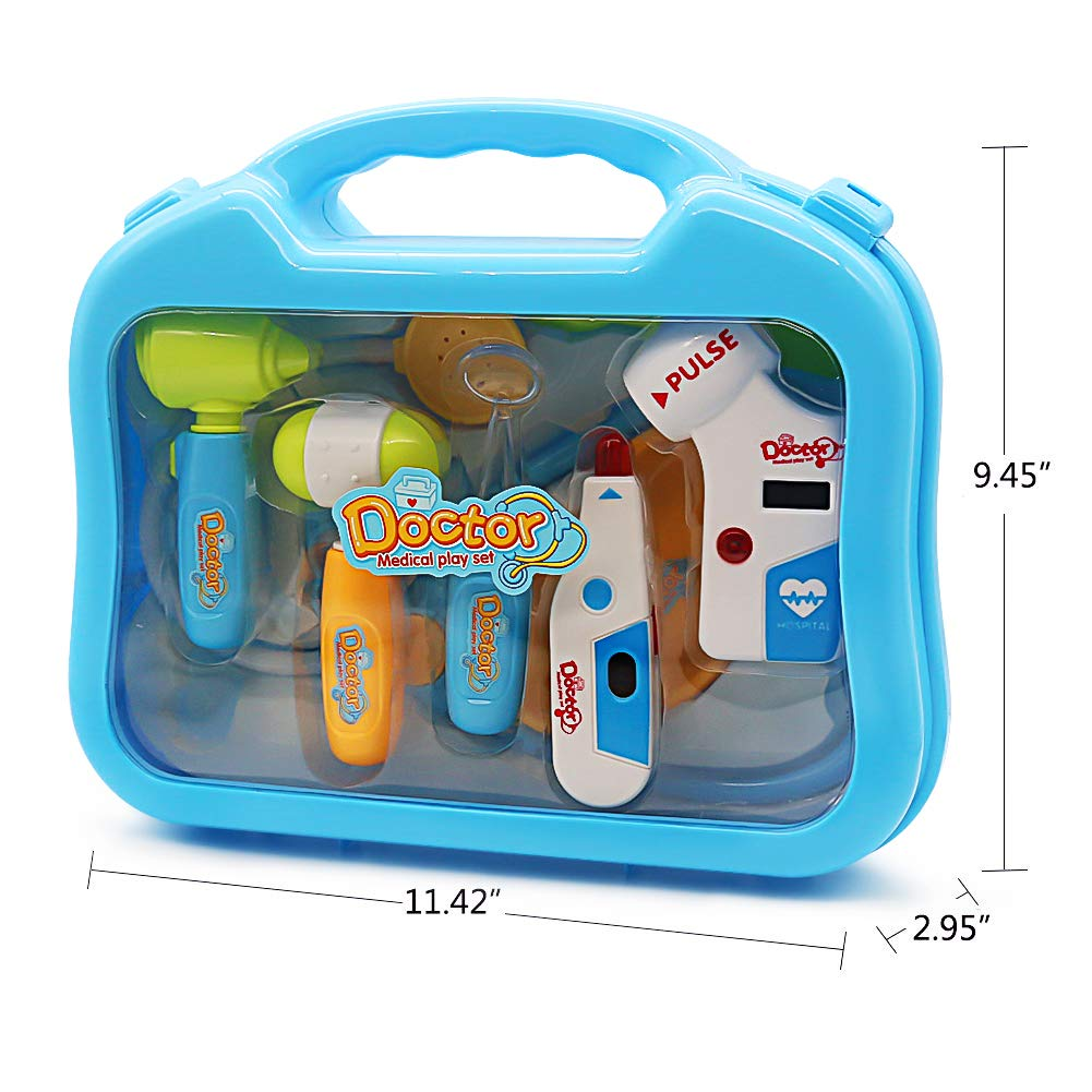Doctor Kit Pretend Toy Role Play Sets with Medical Case for Kids Toddlers Boys Girls 3 4 5 Years Old,10 Pcs