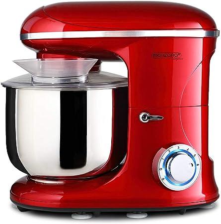 Monzana Robot de cocina multifunción Rojo batidora amasadora mezcladora con bol de 6L 3 accesorios y 7 velocidades: Amazon.es: Hogar