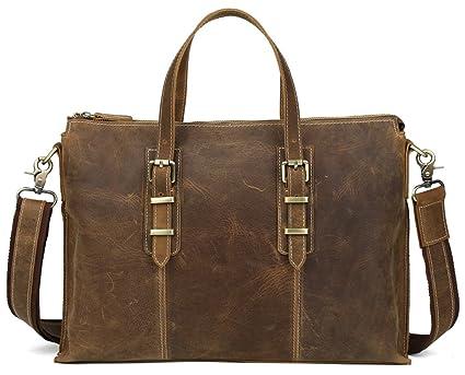 Image Unavailable. Image not available for. Color  Polare Full Grain Leather  Slim Messenger Handbag Shoulder Bag Laptop Briefcase f8ce2b293b482