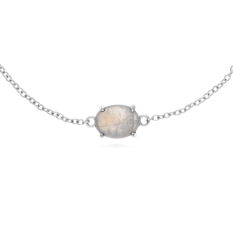 Gemondo Sterling Silver Rainbow Moonstone Oval 19cm Bracelet