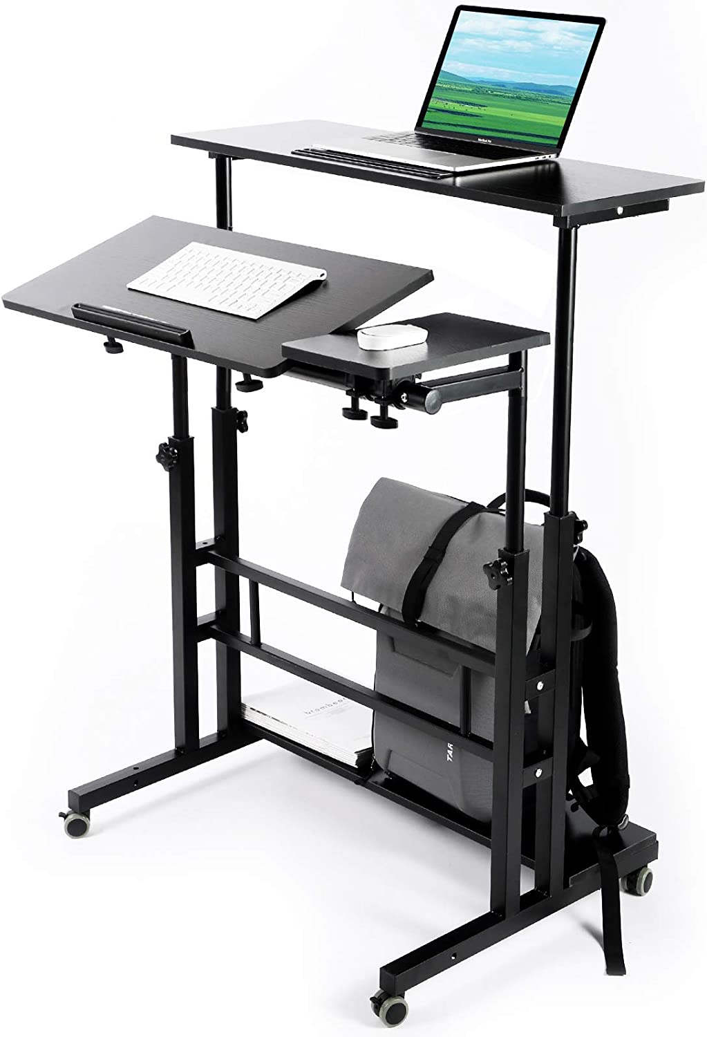 Zytty Portable Standing Desk, Small Standing Desk with Wheels Standing Laptop Desk Mobile Standing Desk for Home Office Adjustable Standing Desk, Stand Up Computer Desk Rolling Laptop Cart, Black