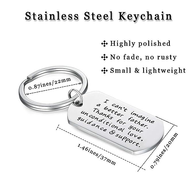 Amazon.com: Llavero de acero inoxidable con texto en inglés ...