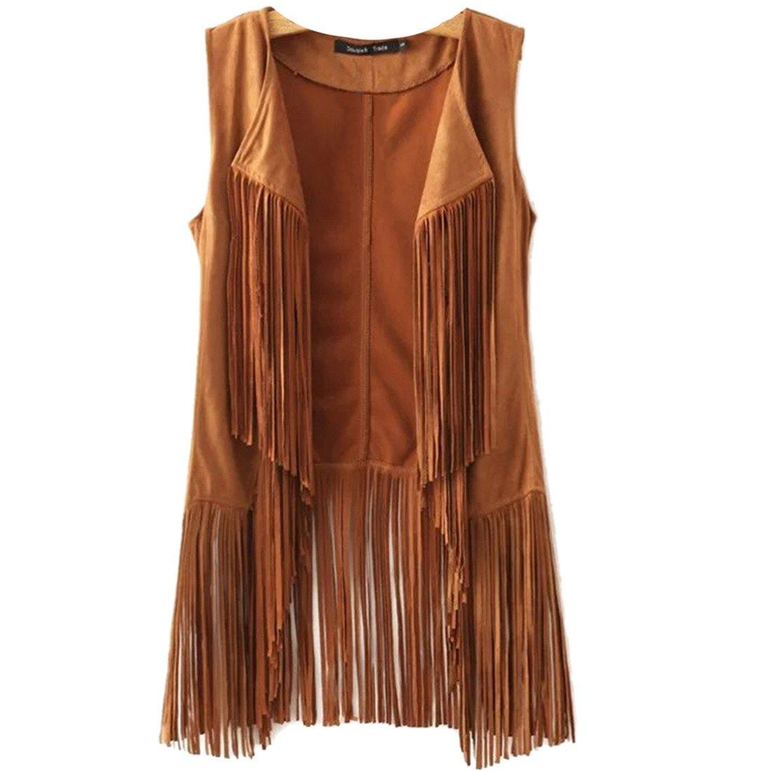 New Tassels Fringe Sleeveless Suede Vest Cardigan Waistcoat Jacket Outwear Tops,Khaki,Medium